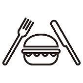 Hamburger, fork and knife