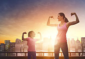Healthy lifestyle. Family sport.