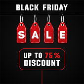 Black Friday sale design template. Discount banner with red price tag. Vector illustration.