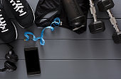 Fitness background, sport equipment, copy space
