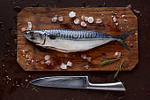 Fresh mackerel on wooden board at black background