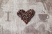 Love to coffee - Burlap texture with beans heart shape