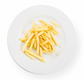 Crispy fried potato chips, french fries top view