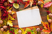 Autumn leaves and berries on wooden background