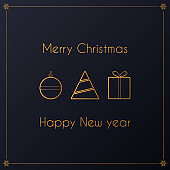 Modern simple Vector luxury golden design of christmas card with ball toy, christmas tree and gift on the darl background.
