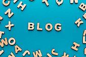 Word Blog on blue background