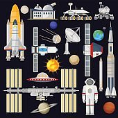 Spacecraft and space technology industry for infographic. Astronomy icon. Planets, Rockets, Satellites.