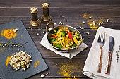 Vegetarian healthy food, restaurant indian dish