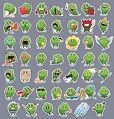 Collection of Emoticon Emoji Cartoon Frog