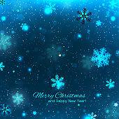 Elegant blue Christmas background with snowflakes