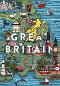 Funny Hand drawn Cartoon Great Britain map
