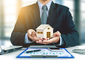 home insurance concept with businessman