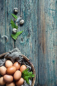Natural quail eggs on rustic wooden background. Close-up, top view, copy space for your text