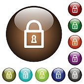 Locked padlock color glass buttons