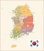 South Korea - vintage map and flag - illustration