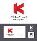Letter K - Design Element with Business Card - illustration