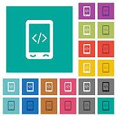 Mobile scripting square flat multi colored icons