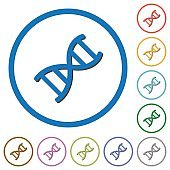 DNA molecule icons with shadows and outlines