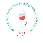Round label Red Wine. Line style a glass with red wine drops, Lorem ipsum on white, nature, the best quality. Perfect wine design