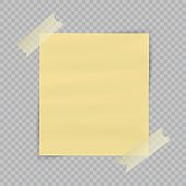 Paper sheet on translucent sticky tape with transparent shadow isolated on checkered background. Empty yellow note template for your design. Vector illustration