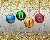 Fashion Christmas Background with shining gold snowflakes, bokeh, sparkles