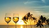 Wine against beautiful sunset.