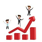 Businessman character flat design. Happy and successful businessman jumping on raising the graph celebrating their success