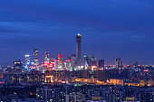 Beijing CBD skyline sunset, night