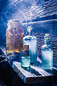Magical lab full of blue potion for Halloween
