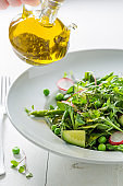 Spring green salad with mix of vegetables