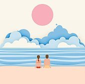 Couple on the beach with paper art style