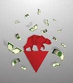 Bear paper art and red arrow pape