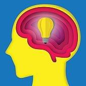Paper art brain layer cut with idea