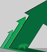 Origami bull and green arrow paper art