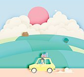 Road trip with car and natural pastel color scheme backgroud