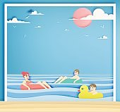 Family floating on the beach with beautiful sea background paper cut style