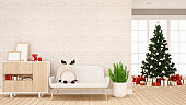 reindeer doll on sofa in living room for apartment or home artwork - Interior design - 3d rendering