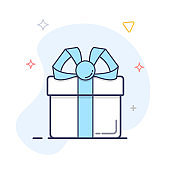 Gift Box vector outline icon