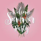 Summer season poster design. Writing and a tropical leaf on pink background