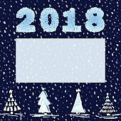 Beautiful New Year card with christmas trees, numbers 2018 and place for your text on seamless night snowy background. Hand-drawn vintage sketch