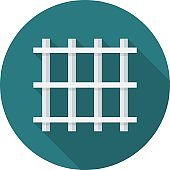 Prison bars circle icon with long shadow. Flat design style.