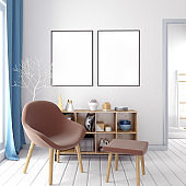 Modern  interior, Scandinavian style. 3D illustration. poster mock up