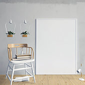 Modern interior with poster and chair. Poster mock up. 3d illustration.