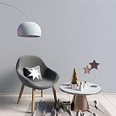 Modern Christmas interior, Scandinavian style. 3D illustration. wall mock up