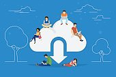 Cloud downloading concept illustration