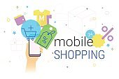 Mobile shopping on smartphone concept illustration