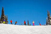 Adult family skiing and snowboarding on sunny day.