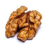 Walnut peeled isolated on white background. Clipping path