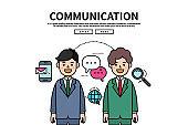 Flat line vector editable graphic website illustration, business communication