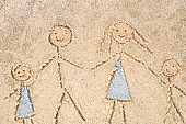 family drawing in sand